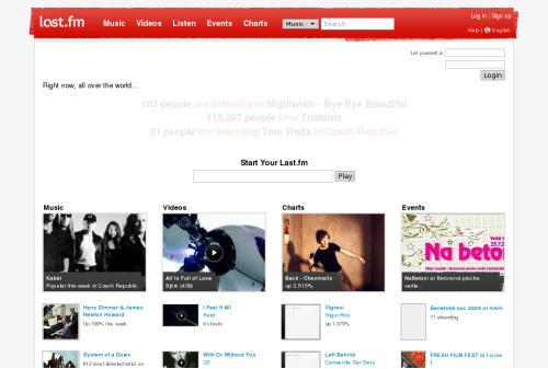 screenshot z webu Last.fm
